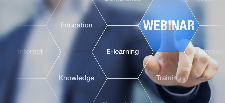 Webinar concept, businessman doing online presentation